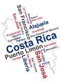 Χάρτης και πόλεις της Κόστα Ρίκα Στοκ Εικόνες