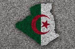 Χάρτης και σημαία της Αλγερίας στους σπόρους παπαρουνών Στοκ εικόνες με δικαίωμα ελεύθερης χρήσης