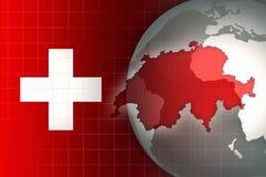 Χάρτης και σημαία της Ελβετίας σε ένα υπόβαθρο παγκόσμιων σφαιρών Στοκ Εικόνα