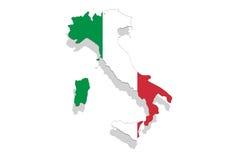 Χάρτης και σημαία της Ιταλίας στο άσπρο υπόβαθρο Στοκ φωτογραφία με δικαίωμα ελεύθερης χρήσης