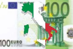 Χάρτης και σημαία της Ιταλίας στο ευρο- υπόβαθρο χρημάτων Στοκ Φωτογραφία