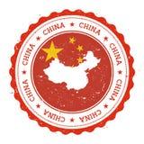 Χάρτης και σημαία της Κίνας στην εκλεκτής ποιότητας σφραγίδα Στοκ Φωτογραφία