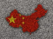 Χάρτης και σημαία της Κίνας στους σπόρους παπαρουνών Στοκ Φωτογραφίες