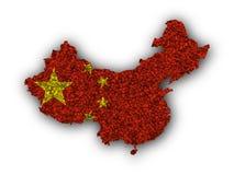 Χάρτης και σημαία της Κίνας στους σπόρους παπαρουνών Στοκ φωτογραφία με δικαίωμα ελεύθερης χρήσης