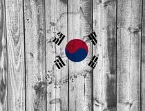 Χάρτης και σημαία της Νότιας Κορέας Στοκ Εικόνες