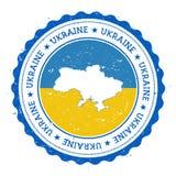 Χάρτης και σημαία της Ουκρανίας στην εκλεκτής ποιότητας σφραγίδα διανυσματική απεικόνιση