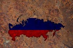 Χάρτης και σημαία της Ρωσίας στο σκουριασμένο μέταλλο Στοκ φωτογραφία με δικαίωμα ελεύθερης χρήσης