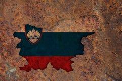 Χάρτης και σημαία της Σλοβενίας στο σκουριασμένο μέταλλο Στοκ Εικόνες