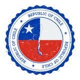 Χάρτης και σημαία της Χιλής στην εκλεκτής ποιότητας σφραγίδα Στοκ Εικόνα
