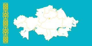 Χάρτης και σημαία του Καζακστάν διανυσματική απεικόνιση
