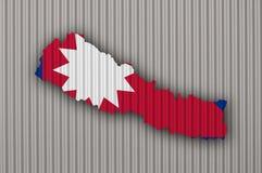 Χάρτης και σημαία του Νεπάλ στο ζαρωμένο σίδηρο Στοκ Εικόνα