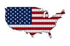 Χάρτης και σημαία των ΗΠΑ στο ζαρωμένο σίδηρο Στοκ Φωτογραφία