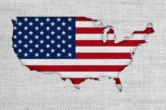 Χάρτης και σημαία των ΗΠΑ στο παλαιό λινό Στοκ φωτογραφία με δικαίωμα ελεύθερης χρήσης