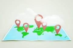 Χάρτης και σύννεφα στο φως διανυσματική απεικόνιση