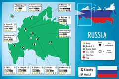 Χάρτης και infographics σταδίων ποδοσφαίρου της Ρωσίας 2018 Στοκ εικόνα με δικαίωμα ελεύθερης χρήσης