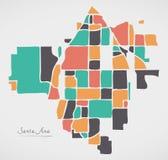 Χάρτης Καλιφόρνιας Σάντα Άννα με τις γειτονιές και το σύγχρονο στρογγυλό sha Στοκ εικόνα με δικαίωμα ελεύθερης χρήσης
