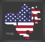 Χάρτης Καλιφόρνιας Σάντα Άννα με το αμερικανικό illustratio εθνικών σημαιών Στοκ εικόνα με δικαίωμα ελεύθερης χρήσης