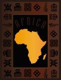 χάρτης καρτών της Αφρικής Στοκ φωτογραφία με δικαίωμα ελεύθερης χρήσης