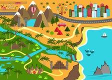 Χάρτης κινούμενων σχεδίων με τα ενδιαφέροντα αντικείμενα περιπέτειας Στοκ Εικόνα