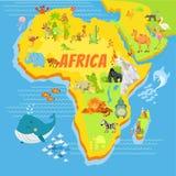 Χάρτης κινούμενων σχεδίων της Αφρικής με τα ζώα Στοκ φωτογραφία με δικαίωμα ελεύθερης χρήσης