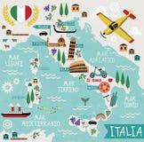 Χάρτης κινούμενων σχεδίων της Ιταλίας Στοκ Εικόνες