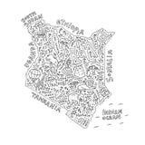 Χάρτης κινούμενων σχεδίων της Κένυας απεικόνιση αποθεμάτων