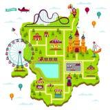 Χάρτης λούνα παρκ Το φεστιβάλ έλξης στοιχείων σχεδίου διασκεδάζει funfair το χάρτη κινούμενων σχεδίων παιχνιδιών παιδιών οικογενε ελεύθερη απεικόνιση δικαιώματος