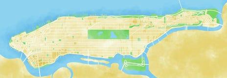 Χάρτης Μανχάταν, πόλη της Νέας Υόρκης, που σύρεται με το χέρι ελεύθερη απεικόνιση δικαιώματος