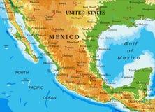 Χάρτης Μεξικό-ανακούφισης Στοκ Εικόνα