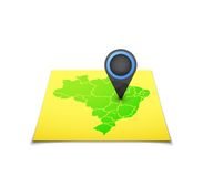 Χάρτης με έναν δείκτη στη Βραζιλία Στοκ Εικόνα