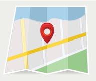 Χάρτης με μια καρφίτσα στο γκρι Στοκ Εικόνες