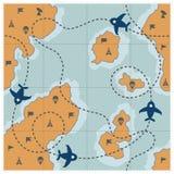 Χάρτης με τη διαστιγμένη διαδρομή, αεροπλάνα Στοκ φωτογραφία με δικαίωμα ελεύθερης χρήσης
