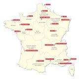 Χάρτης με τις είκοσι λέσχες του πρώτου γαλλικού ποδοσφαιρικού πρωταθλήματος 2017-2018 Στοκ εικόνα με δικαίωμα ελεύθερης χρήσης