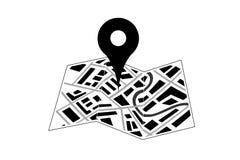 Χάρτης με το εικονίδιο καρφιτσών ελεύθερη απεικόνιση δικαιώματος