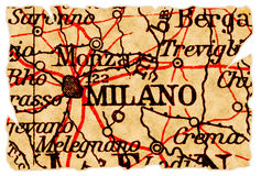 χάρτης Μιλάνο παλαιό Στοκ φωτογραφία με δικαίωμα ελεύθερης χρήσης