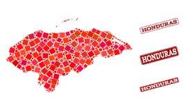 Χάρτης μωσαϊκών της Ονδούρας και του κατασκευασμένου κολάζ σχολικών γραμματοσήμων διανυσματική απεικόνιση