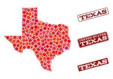 Χάρτης μωσαϊκών της σύνθεσης γραμματοσήμων κράτους του Τέξας και σχολείου κινδύνου απεικόνιση αποθεμάτων