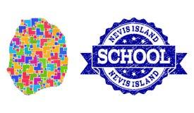 Χάρτης μωσαϊκών της σύνθεσης γραμματοσήμων νησιών Nevis και σχολείου Grunge διανυσματική απεικόνιση