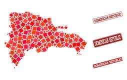 Χάρτης μωσαϊκών της σύνθεσης σφραγίδων Δομινικανής Δημοκρατίας και σ απεικόνιση αποθεμάτων