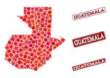 Χάρτης μωσαϊκών του κολάζ γραμματοσήμων της Γουατεμάλα και σχολείου Grunge ελεύθερη απεικόνιση δικαιώματος