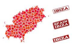 Χάρτης μωσαϊκών του κολάζ σφραγίδων νησιών Ibiza και σχολείου κινδύνου διανυσματική απεικόνιση