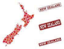 Χάρτης μωσαϊκών του κολάζ σφραγίδων της Νέας Ζηλανδίας και σχολείου κινδύνου διανυσματική απεικόνιση