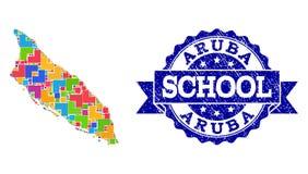 Χάρτης μωσαϊκών του νησιού της Αρούμπα και του κατασκευασμένου κολάζ σχολικών γραμματοσήμων διανυσματική απεικόνιση