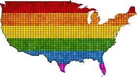 Χάρτης μωσαϊκών των ΗΠΑ στα χρώματα LGBT, ομοφυλοφιλική σημαία υπερηφάνειας στο περίγραμμα των ΗΠΑ διανυσματική απεικόνιση