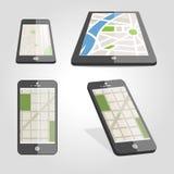 Χάρτης ναυσιπλοΐας στο τηλέφωνο Ελεύθερη απεικόνιση δικαιώματος