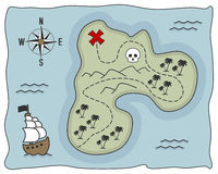 Χάρτης Νησιών των Θησαυρών πειρατών Στοκ Φωτογραφίες