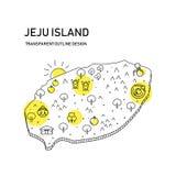 χάρτης νησιών jeju με το διαφανές σχέδιο περιλήψεων, με το αντικείμενο cutie στοκ φωτογραφία