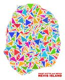 Χάρτης νησιών Nevis - μωσαϊκό των τριγώνων χρώματος ελεύθερη απεικόνιση δικαιώματος