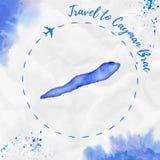 Χάρτης νησιών watercolor Brac Cayman στα μπλε χρώματα ελεύθερη απεικόνιση δικαιώματος
