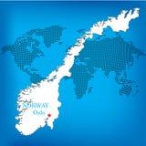 χάρτης Νορβηγία Στοκ Εικόνες